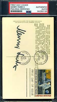 Henry Ford II PSA DNA Coa Hand Signed 1969 FDC Cache Autograph
