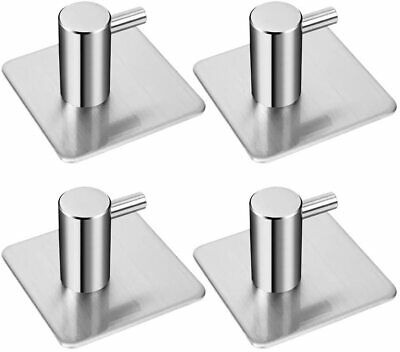 4 Pack Rustproof Stainless Steel Stick on Hooks Self Adhesive from 45*45*30mm