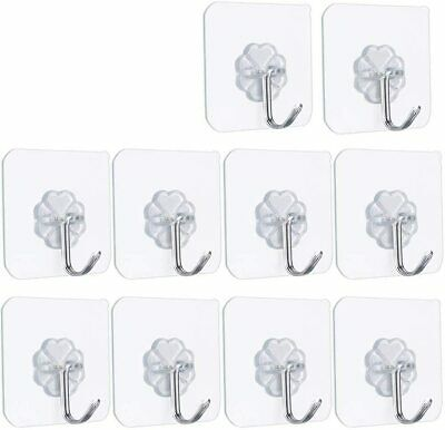 FOTYRIG Self Adhesive Hooks Stick on Strong Wall Sticky Clear