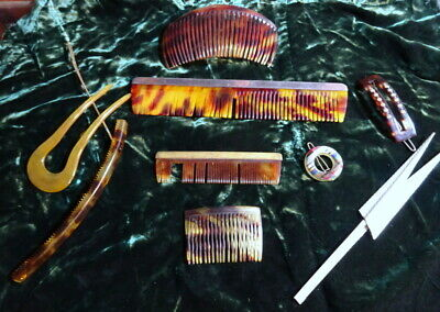 A Collection of Vintage Early Plastic Combs Hair Ornaments Clips