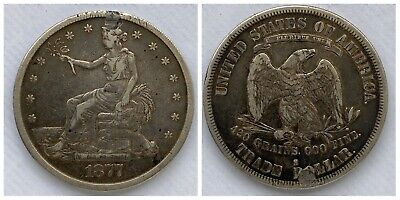 1877-S Trade Dollar VF Details Holed & Plugged
