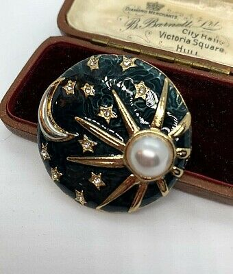 BN Lovely Large Black Stone Drop Pearl Gothic Steampunk Style Costume Brooch