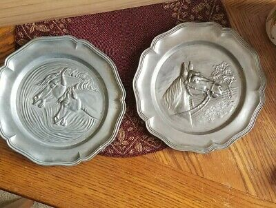 "2 Vtg. Pewter Horse Plates 9"" Wall Hanging"