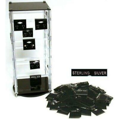 """Revolving Rotating Acrylic Jewelry Display Stand with 100 1 1/2"""" Earring Cards"""