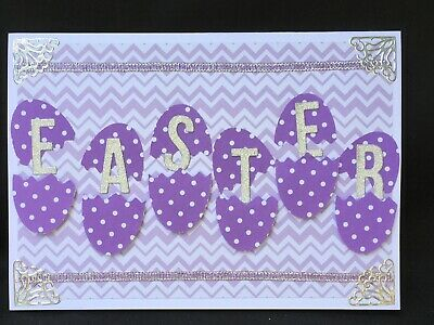 Handmade Easter Greeting Card, Easter card, Easter Bunny, 3 sides decorated,