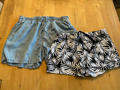 2 pairs Size 12 Ladies Shorts black white  blue chambray George Next