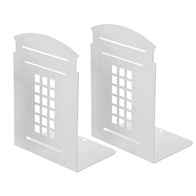 Bookends White Pair Simple Shelf Non-Slip Heavy Metal Durable Sturdy Strong Gift