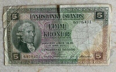 Iceland. Iandbanski Islands 5 Kroner 1928 CIRCULATED (I combine)