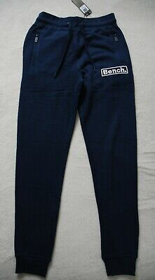 BENCH 'LOFTUS' Mens Joggers Gym Navy Blue with Woven Logo Labels size S BNWT