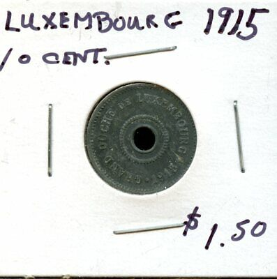 1915 Luxembourg 10 Cent Coin FW250