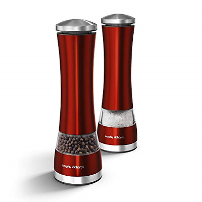 Morphy Richards 974221 Accents Electronic Salt and Pepper Mill Set, Red, Steel,