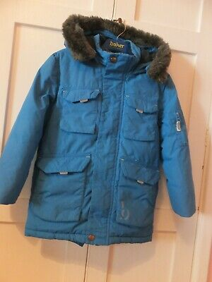 Ted Baker Boys   Blue Hooded  Fur Trim Coat Age 5/6 Years