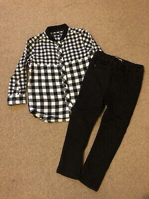 Next Boys Black Jeans Trousers Checked Shirt Age 18/24 Months Outfit Set