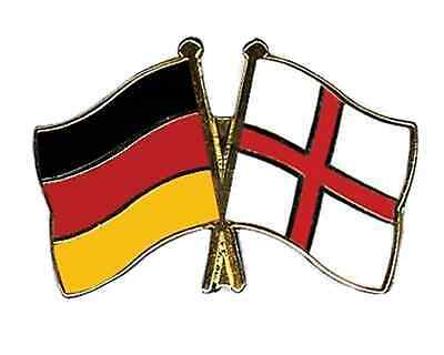 Germany & England Friendship Flags Gold Plated Enamel Lapel Pin Badge