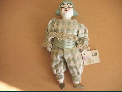 Vintage Harlequin Doll Commedia Countess Lene Thun Ceramic With Certificate