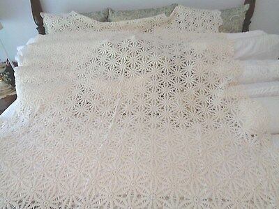 """Hand Crochet Antique tablecloth Natural in color Very exceptional 64"""" x 106"""""""