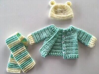 Baby Handmade Knitted Outfit Little Green Radicals also available) Cardigan Hat