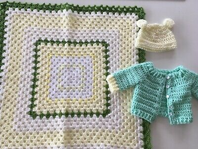 Baby Shower Gift Set Blanket Cardigan & Hat Little Green Radicals also available