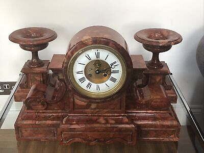 ANTIQUE HUGE FRENCH ROUGE MARBLE CLOCK & GARNITURE - BY JUST Hour Lavigne