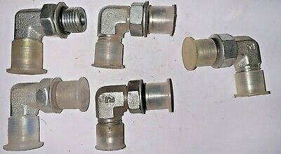 "Assorted Brand 1/4"" Npt Orb To 3/8"" Jic 90° Elbows 6801-06-04 (Lot Of 5)"