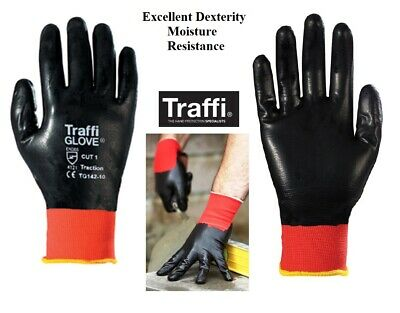 TraffiGlove Waterproof Gloves Fully Nitrile Coated Assembly Builders Work Glove
