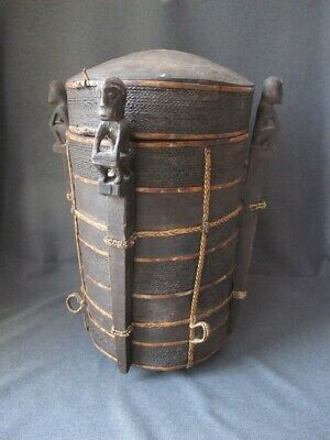 Antique Dayak Kalimantan Borneo Lupong Manang Shaman's Container Carrying Basket