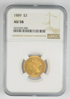 AU58 1889 $3 Indian Head Gold Three Dollar Piece - Graded NGC *1091