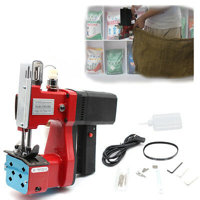 110V Red Portable Electric Bag Sewing Machine Sealing Sack Stitching Closer US