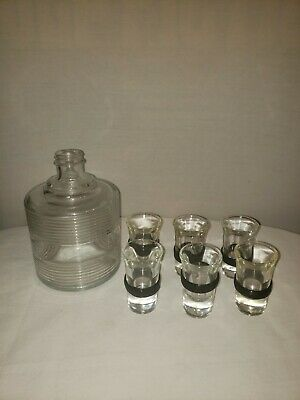 Antique Clear Glass Whiskey Decanter With 6 Matching Shot Glasses