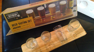 Refinery Beer Tasting Set 4 Glasses Wooden Board New in Box House Bar Item