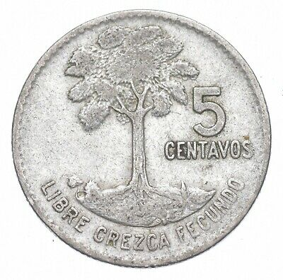 Roughly the Size of a Dime 1961 Guatemala 5 Centavos World Silver Coin *232