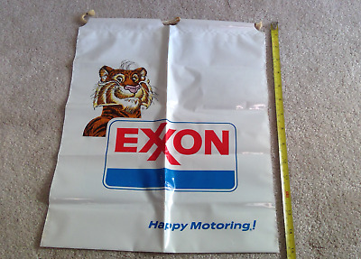 Very RARE! Vintage 1970's Exxon Corded Plastic Grocery Bag Tiger Happy Motoring