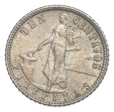 Roughly the Size of a Dime 1944 Philippines 10 Centavos World Silver Coin *692