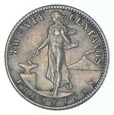 Roughly Size of Quarter 1944 Philippines 20 Centavos World Silver Coin *267
