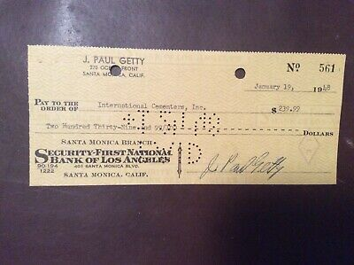 J. Paul Getty, Oil Mogul - Signed Personal Check 1948