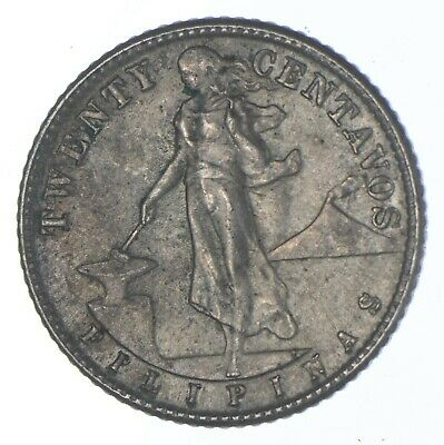 Roughly Size of Quarter 1944 Philippines 20 Centavos World Silver Coin *281
