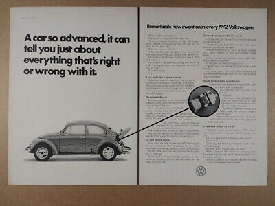 1972 VW Volkswagen Beetle computer check-up feature vintage print Ad