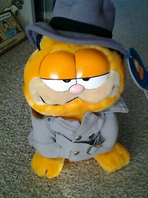 "GARFIELD DETECTIVE Cat Plush Doll 10"" vintage 1980's era Trench Coat & Hat tag!!"