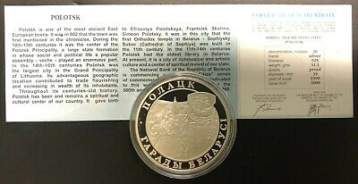 Belarus Silver Coin 20 Rubles 1998 Polotsk+Certificate