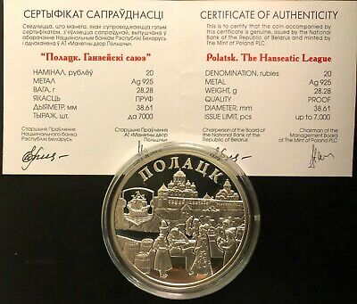 Belarus Silver Coin 20 Rubles 2011 Polotsk+Certificate