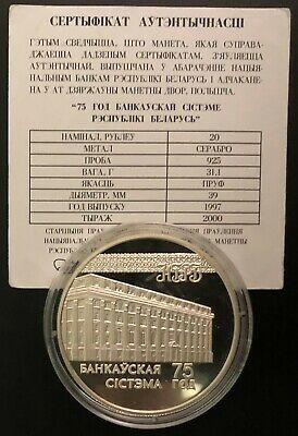 Belarus Silver Coin 20 Rubles 1997 75 Years of the Banking System+Certificate