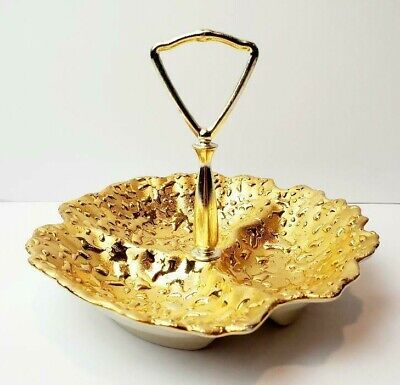 The Pottery Center USA Pretty Weeping Gold Trinket Dish with Handle