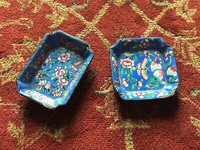 Enamel Chinese Vintage / Antique Dishes / Butterflys /