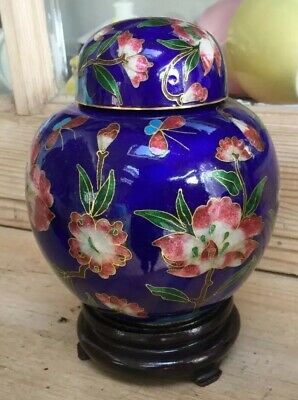 "Vintage Brass & Enamel Cloisonné Ginger Jar On Stand Beautiful Colours 5.5"" Tall"