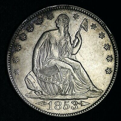 1853 Seated Liberty Silver Half Dollar CHOICE AU FREE SHIPPING E308 ACLM