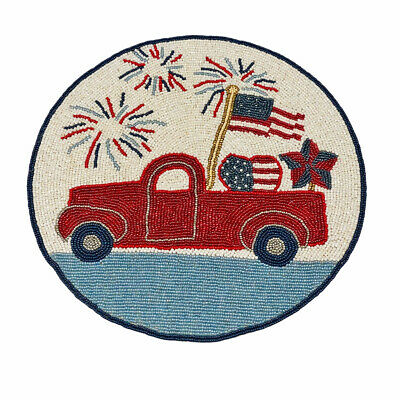 Memorial Day 4th of July Flag Truck Circle Beaded Placemat Center Piece NEW