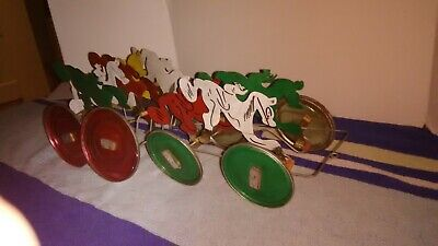 Hand Crafted Horse Racing Decorative Toy. 12 in by 4 in. Made Of Cans and lids