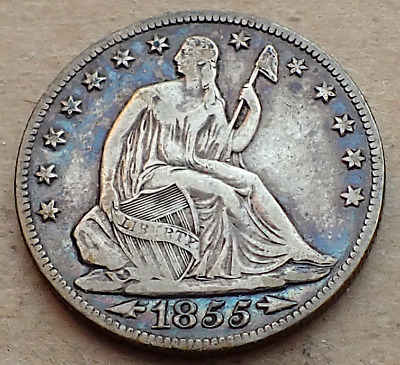 1855-O Seated Half Dollar, Arrows Type-New Orleans Date, Blue Toned Obverse, VF