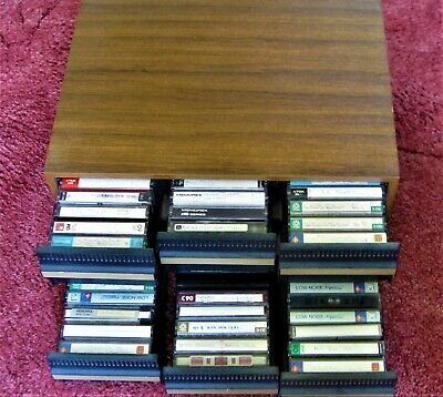 Vintage Retro Teak Effect Wooden Cassette Tape Storage for 72 tape cassettes