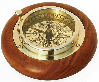 "Shiny brass compass nautical marine direction antique 4"" compass on wooden base"